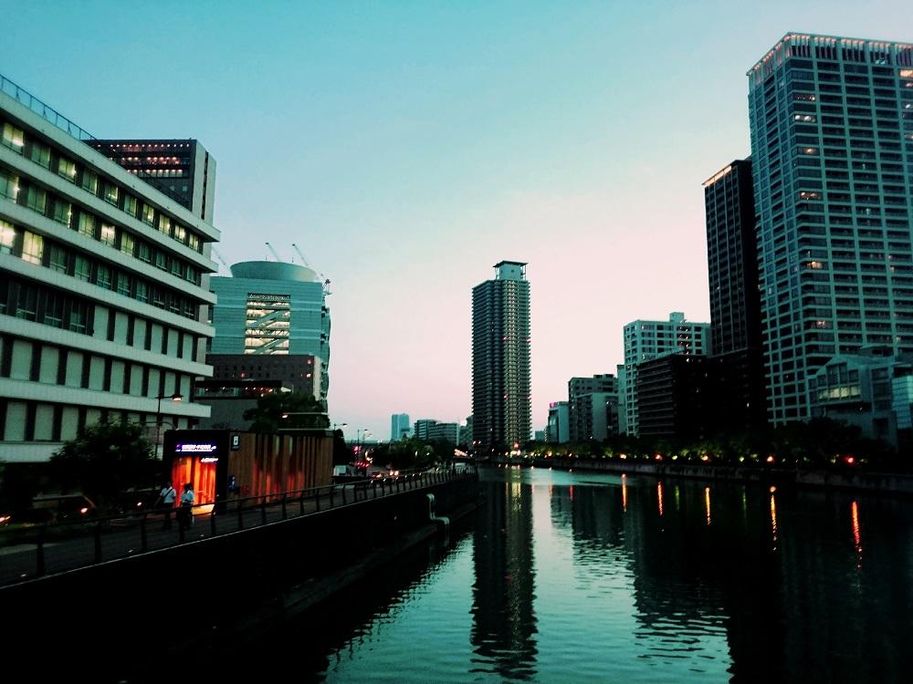 玉江橋夕景、そして金魚。