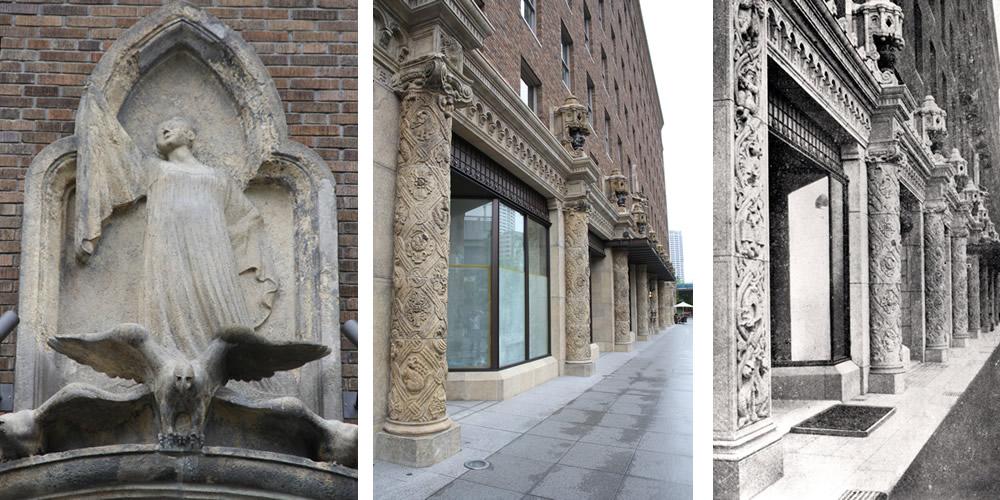 【左】旧ダイビル創建当時、新進気鋭の作家であった故大国貞蔵氏の作品「鷲と少女の像」も大事に取り外され、息を吹き返しました。 ・【右】【左※】格調高いギリシャ風の柱もそのまま。劣化した部分はエイジング加工を施し、ほとんど区別がつかない状態に。※画像提供:大林組
