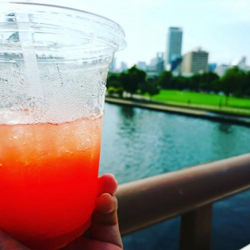 大阪の夏は暑く、外回りには水分補給を