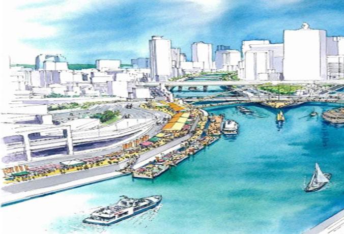 「海の駅」の完成時の予想イラスト。ステージでイベントが行われ、多くの人で賑わうことが予想されています。(画像提供:大阪市福島区)