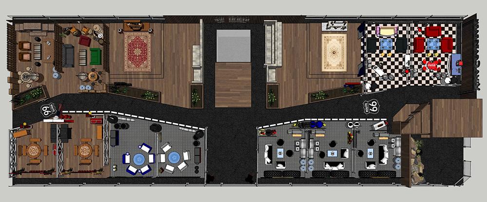 こちらは、ゲストハウスを上から見たイメージ。通路をアメリカの有名なハイウェイ「ROUTE66」に見立て各スペースを配置。こだわりのインテリアが皆さんを迎えてくれます。(画像提供:株式会社ビバックリゾート)