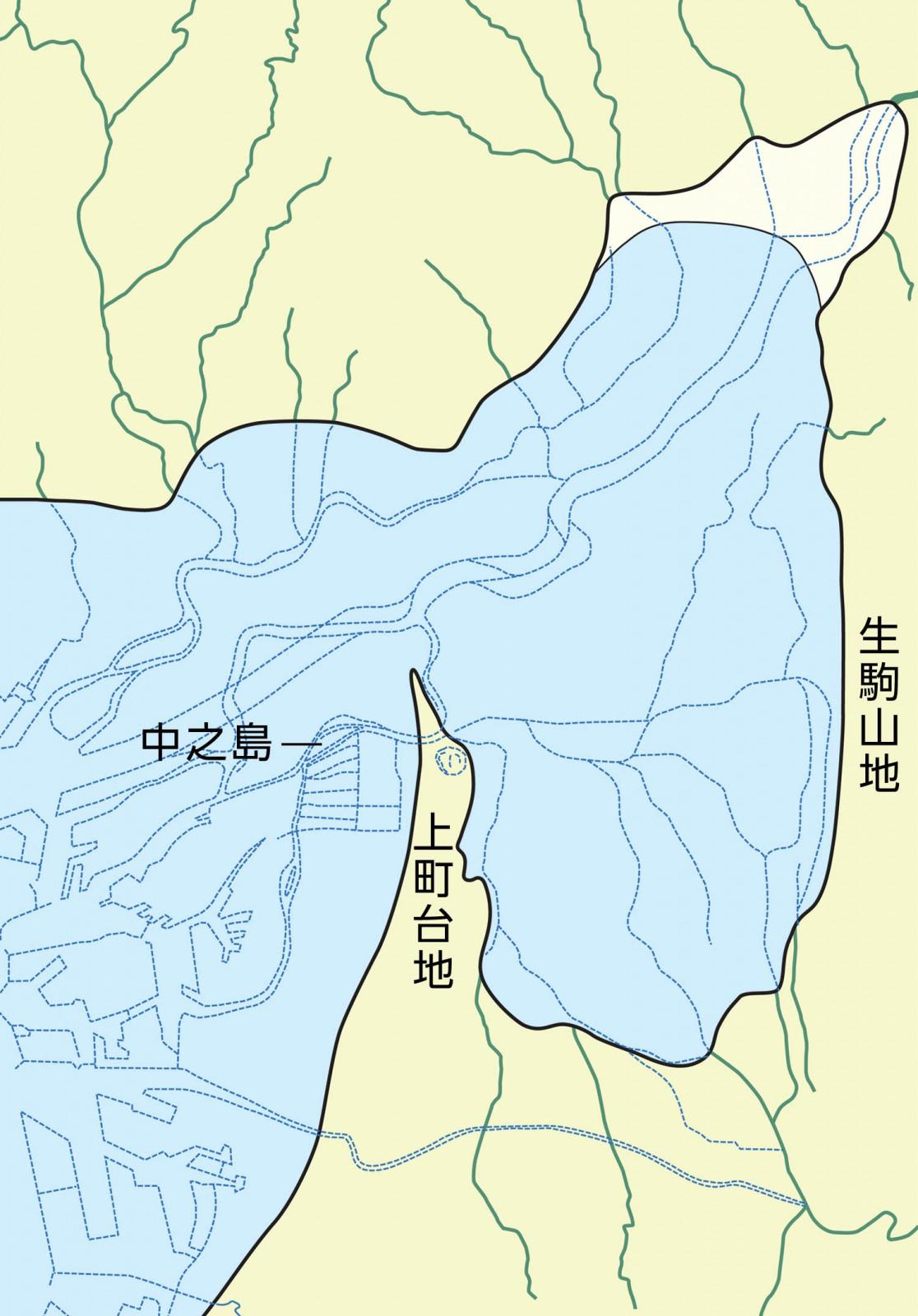 約7000~6000年前の古地理図ー北は江坂や吹田、高槻や枚方まで、東は生駒山地の麓まで海水が侵入し河内湾を形成していた。