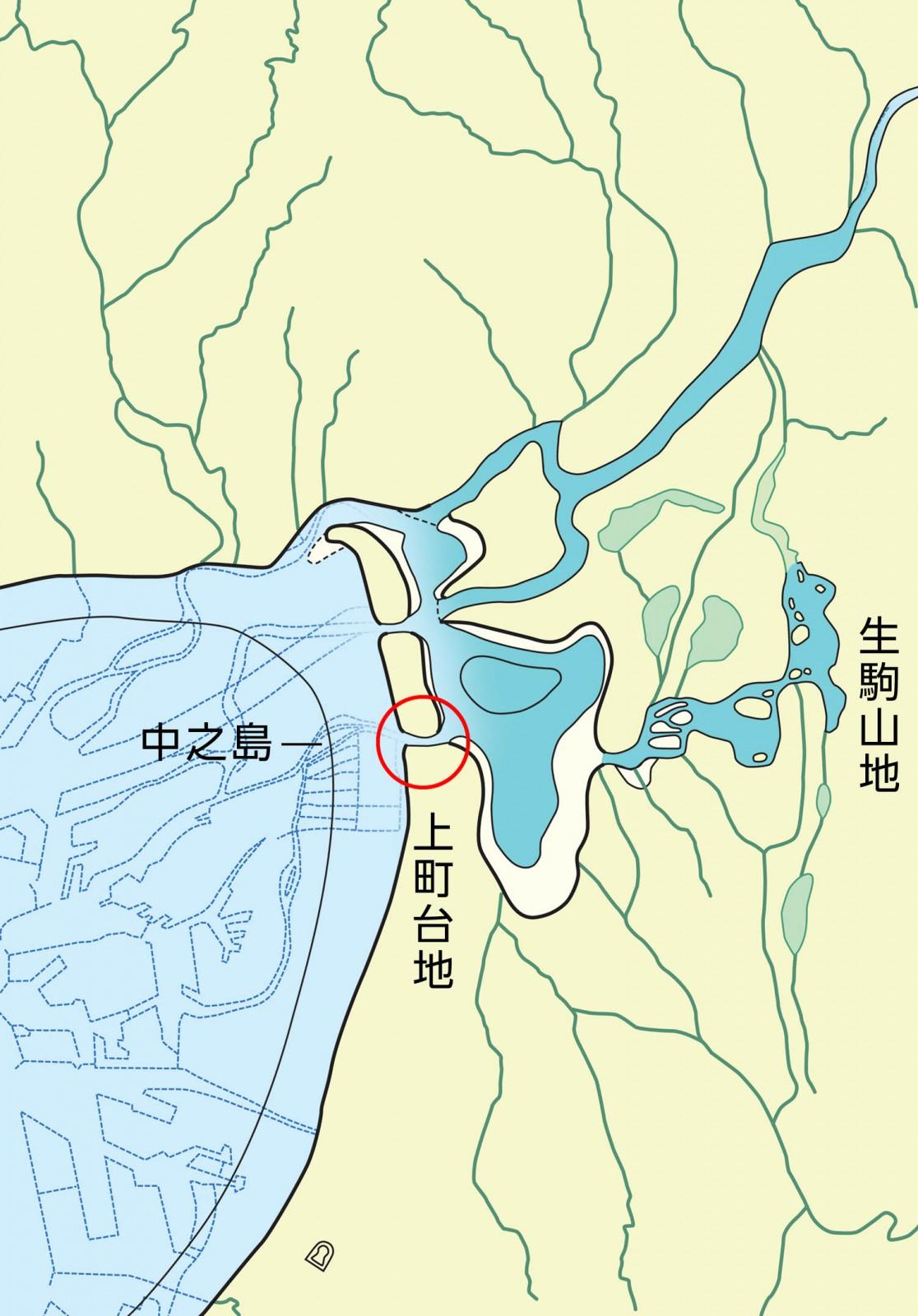 5世紀頃の古地理図ー河内湾は河内湖になり、細長く伸びた砂州を越えて水の通り道が形成されていく。〇が難波堀江と推定される場所。
