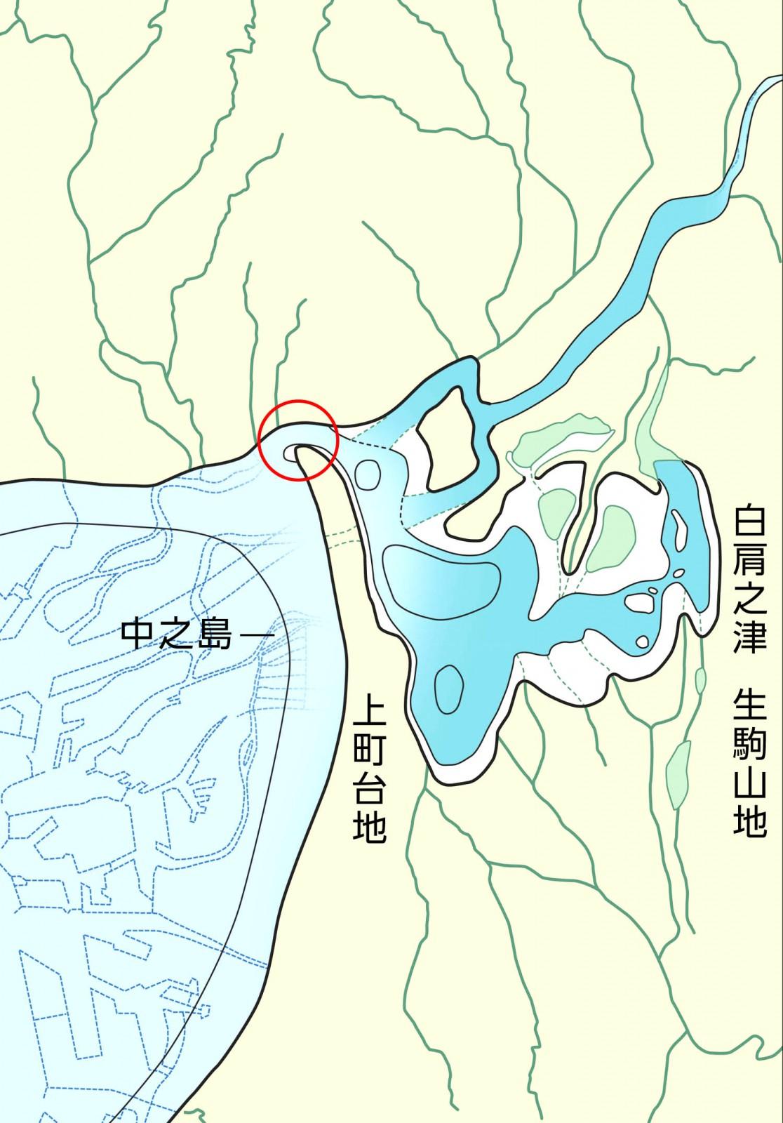約1800~1600年前の古地理図 − イワレ彦の大船団は砂州の先端部(〇印)を通過して白肩之津に上陸したのだろうか。