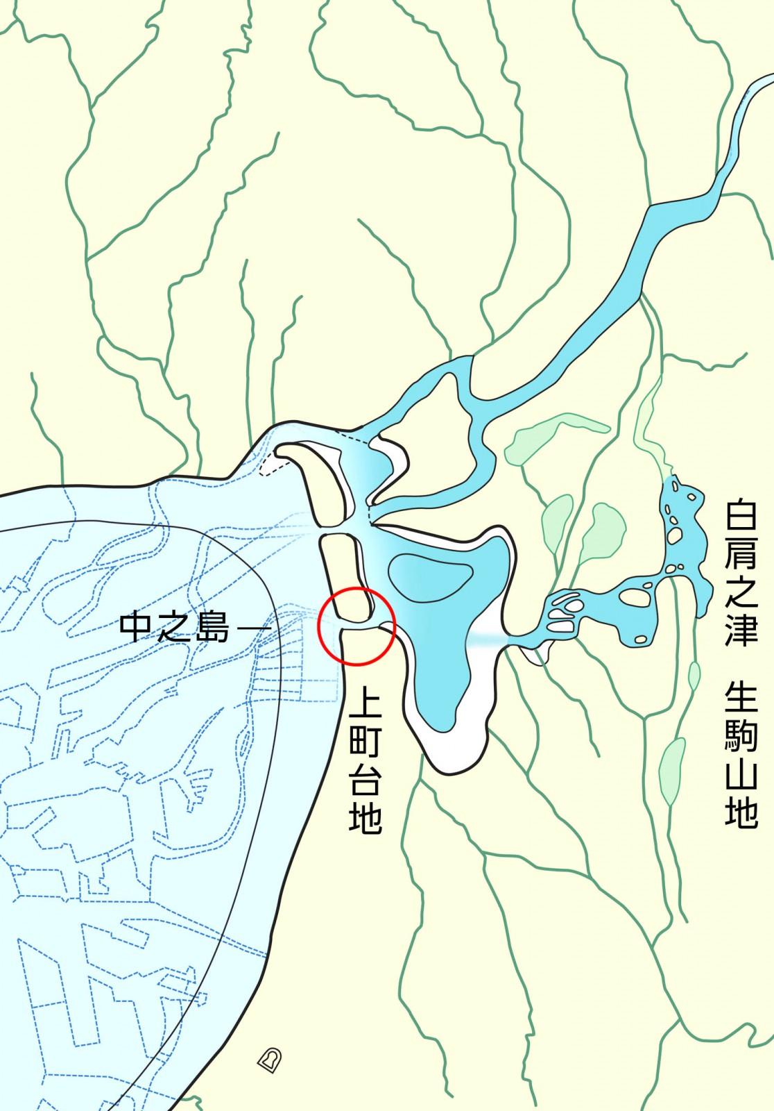 5世紀頃の古地理図 − この時代には難波の堀江(〇印)ができているので大阪湾からまっすぐ白肩之津に行けたであろう。