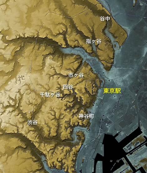 「谷」がつく地名をプロットした東京の地形図-武蔵野台地に、谷が樹枝状に広がっている様子がよくわかる。東京の町は谷地形により独特の景観を作り出しており、谷を意識して町を歩くと面白い。