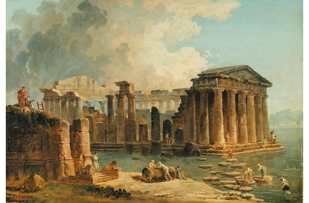 ユベール・ロベール《水に囲まれた神殿》1780年代