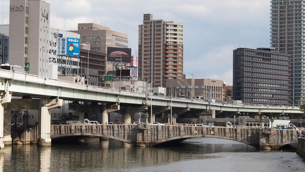 大江橋 橋長:81.5m/有効最大幅員37.0m/形式:アーチ橋/完成:1935年